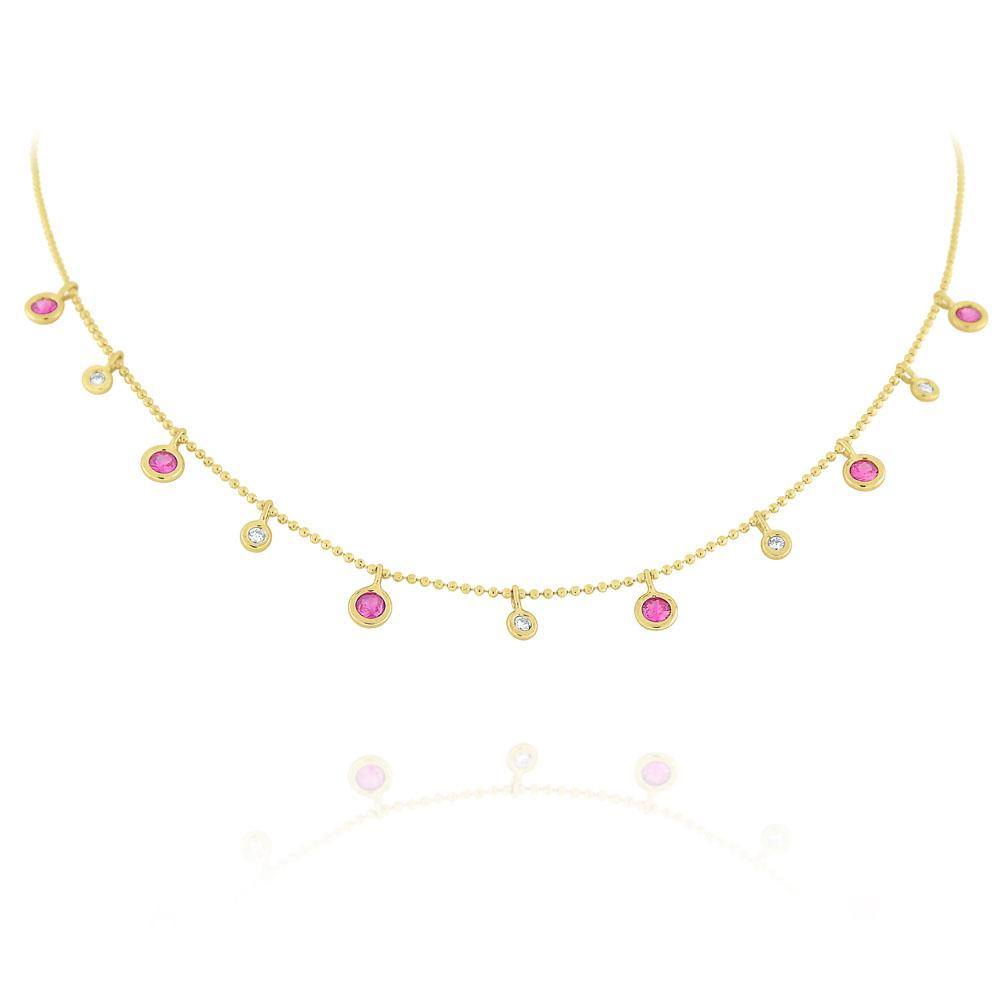 n6924 kc design pink sapphire & diamond dew drop necklace set in 14 kt. gold