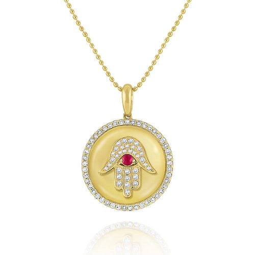 n7155 kc design ruby & diamond hamsa medallion necklace set in 14 kt. gold