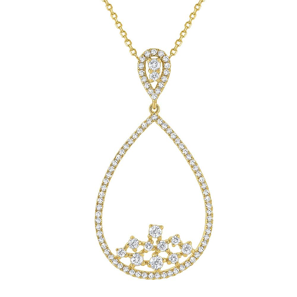 n7332 kc design diamond teardrop frame necklace set in 14 kt. gold