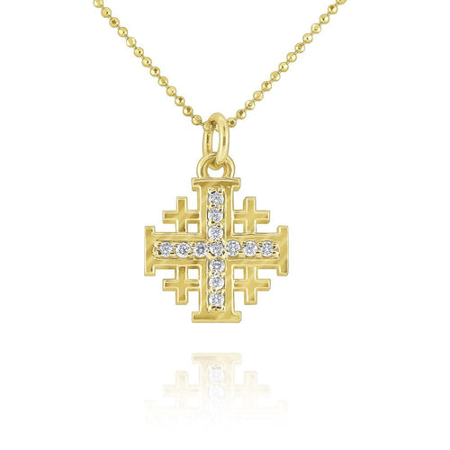 n7753 kc design gold and diamond jerusalem cross