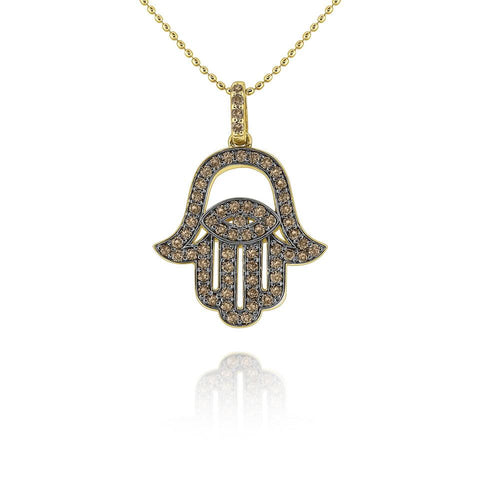 n7766 kc design gold and champagne diamond hamsa and evil eye necklace