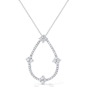 n7781 kc design 14k gold and diamond open pear necklace