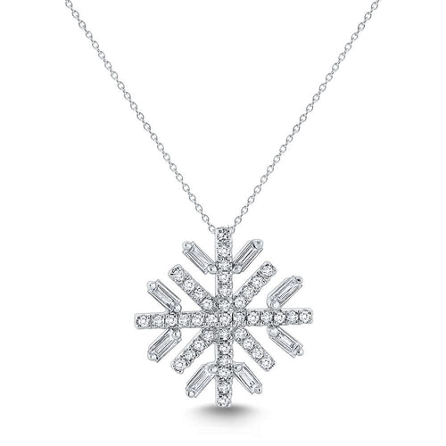 n7795 kc design diamond and 14k gold snowflake necklace