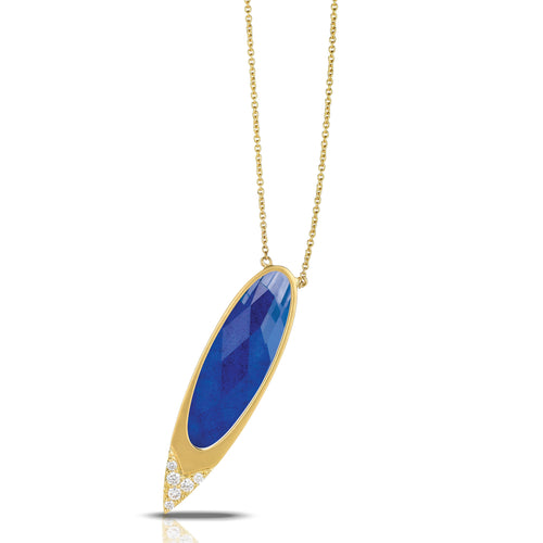 doves royal lapis collection 18k yellow gold diamond necklace in satin finish N7821LP