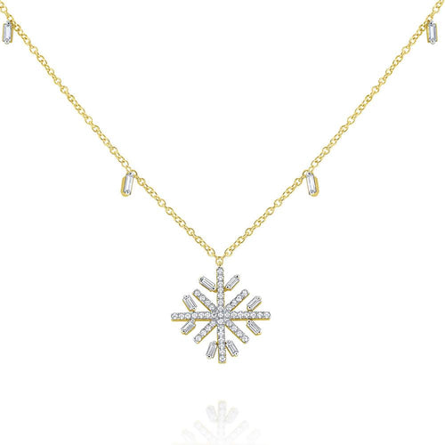 n7851 kc design diamond snowflake necklace accented by a diamond baguettes chain