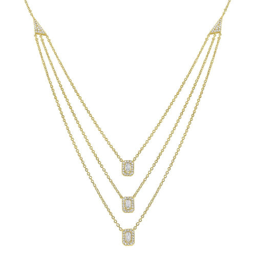 n7852 kc design triple strand round and baguette diamond necklace