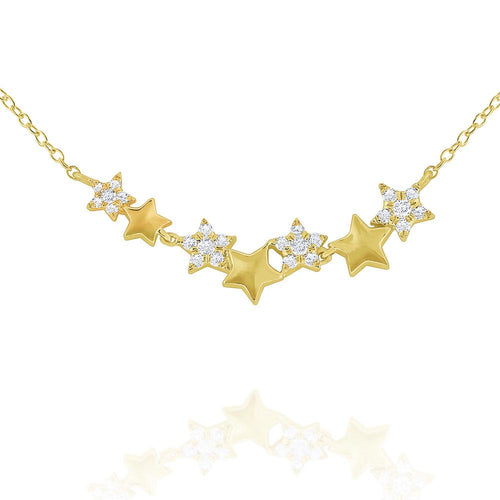 n7863 kc design 14k gold and diamond star necklace