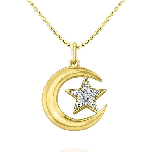 n7877 kc design 14k gold and diamond moon and star celestial necklace