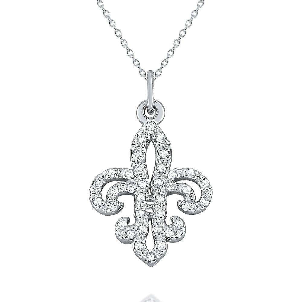 n7913 kc design gold and diamond fleur de lis necklace