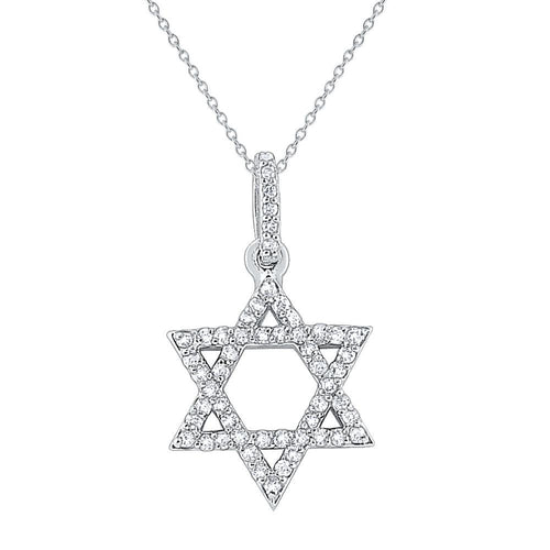 n7918 kc design 14k gold and diamond star of david necklace
