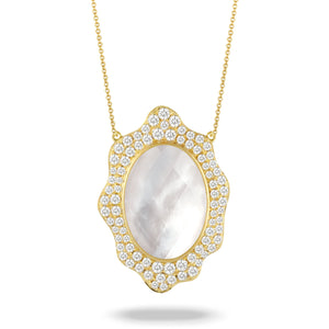 doves white orchid collection 18k yellow gold diamond necklace N8415WMP