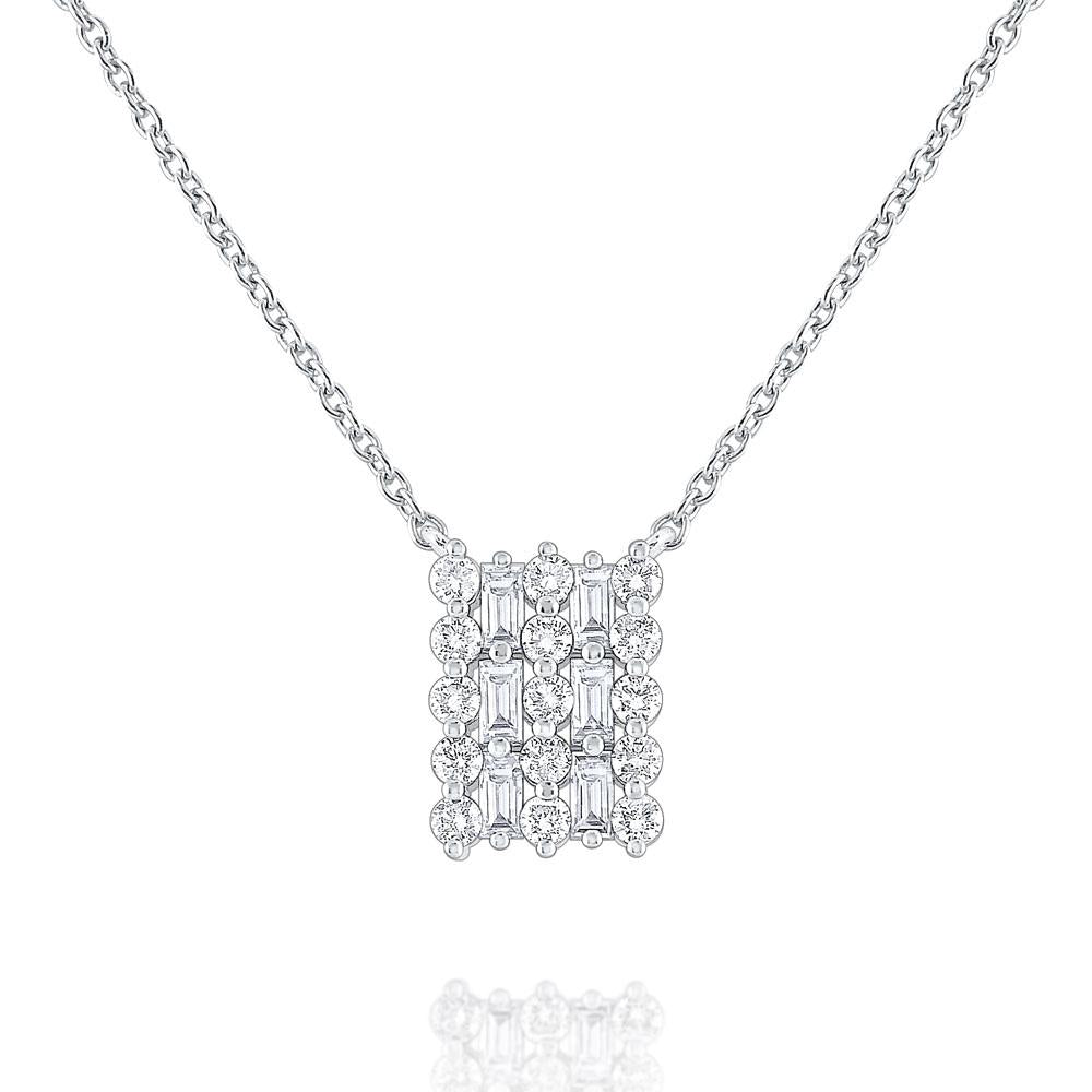 n8619 kc design 14k gold rectangle necklace accented with round and baguette diamonds