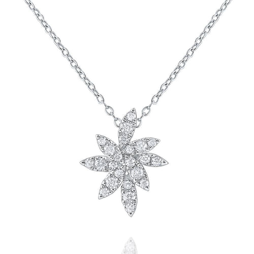 n8659 kc design 14k gold and diamond floral inspired cluster necklace