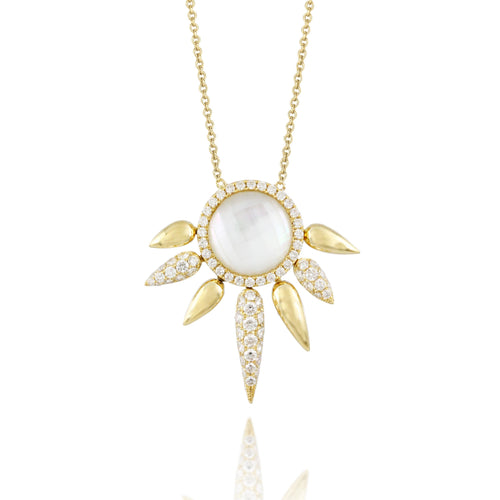 doves white orchid collection 18k yellow gold diamond necklace N8666WMP