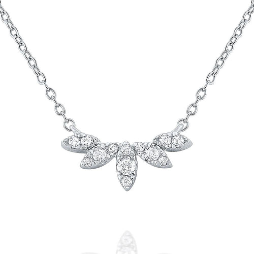 n8676 kc design 14k gold and diamond laurel leaf necklace
