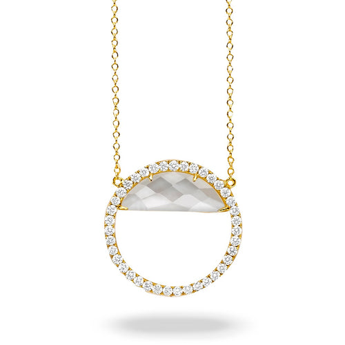 doves white orchid collection 18k yellow gold diamond necklace N8704WMP