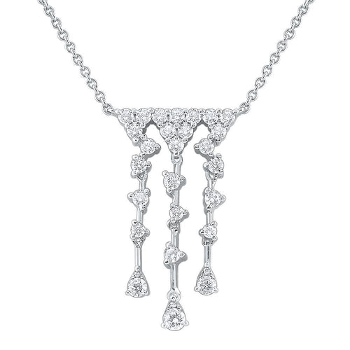 n8727 kc design 14k gold and diamond triple row cascade necklace