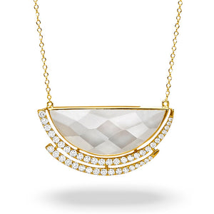 doves white orchid collection 18k yellow gold diamond necklace N8875WMP