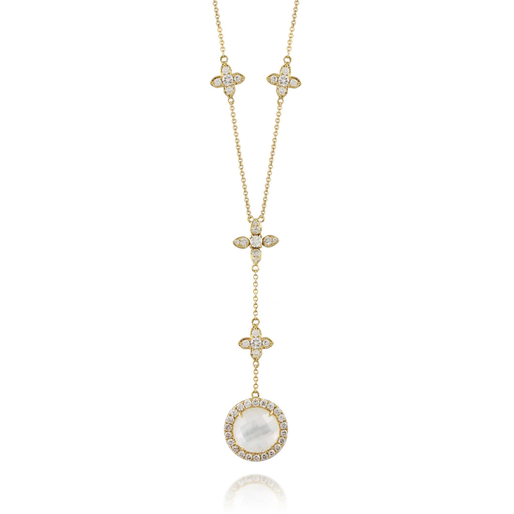 doves white orchid collection 18k yellow gold diamond necklace N8879WMP