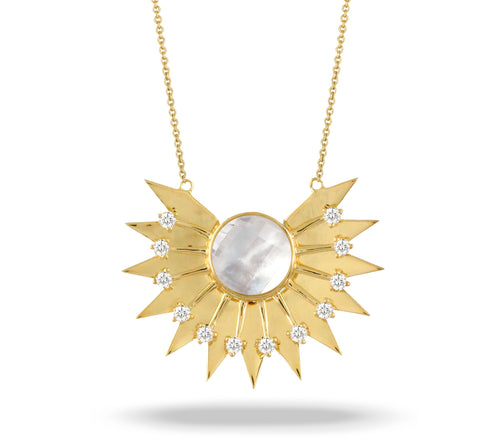 doves white orchid collection 18k yellow gold diamond necklace N9001WMP