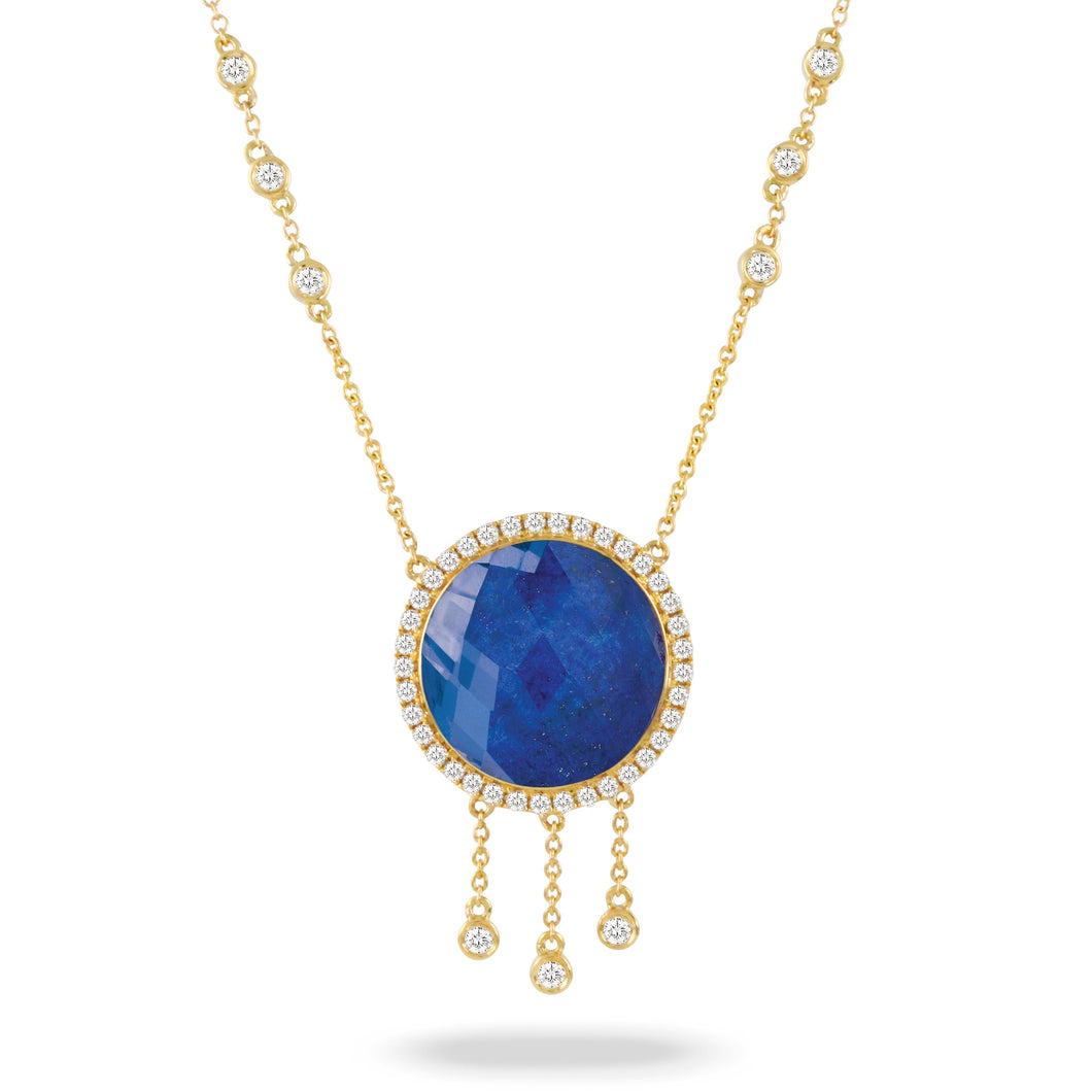 doves royal lapis collection 18k yellow gold diamond necklace N9123LP