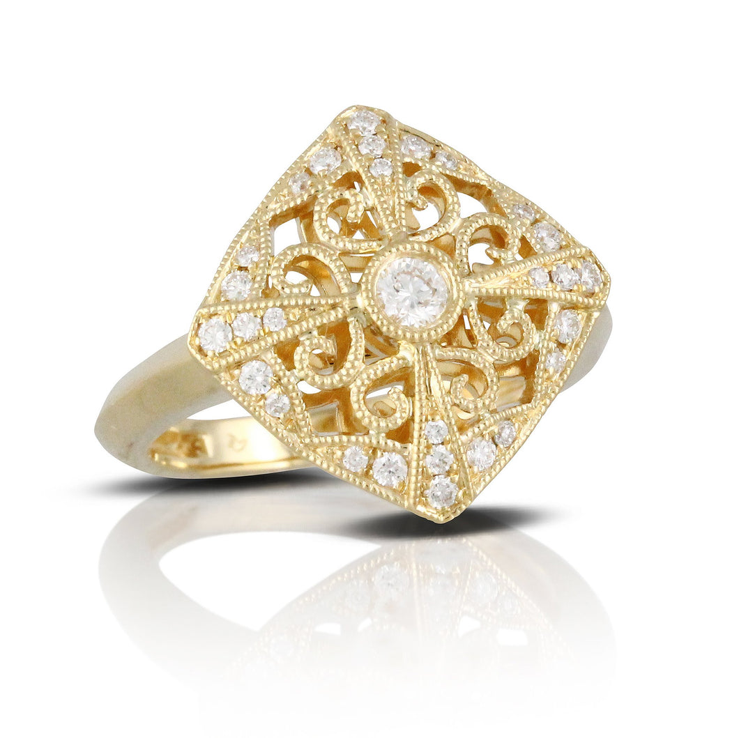 doves diamond fashion collection 18k yellow gold diamond ring R4210-1