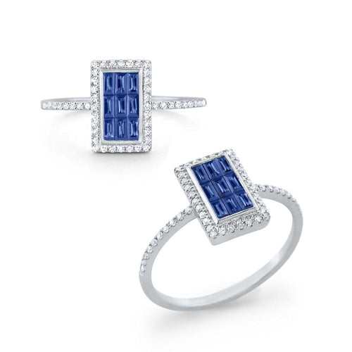 r6071 kc design sapphire & diamond rectangular ring set in 14 kt. gold
