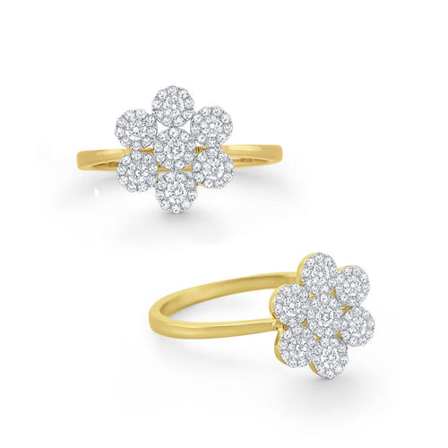 r6103 kc design diamond flower cluster ring set in 14 kt. gold