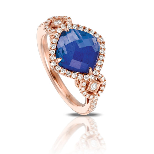 doves royal lapis collection 18k rose gold diamond ring R6261LP