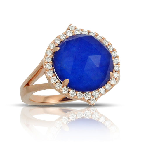 doves royal lapis collection 18k rose gold diamond ring R6287LP-1