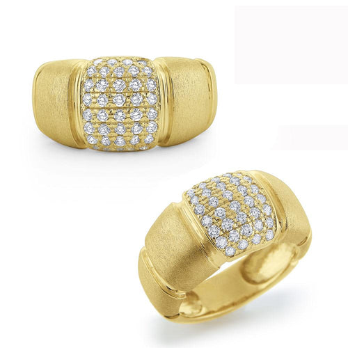 r6597 kc design chunky diamond ring set in 14 kt. brushed gold
