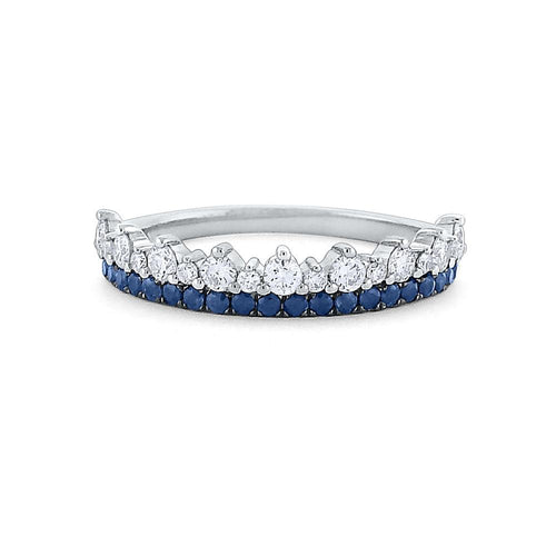 r7096 kc design diamond and blue sapphire golden crown ring
