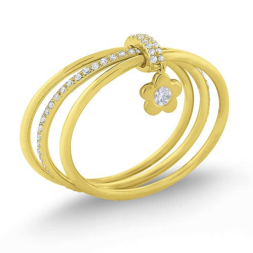 r7509 kc design diamond lucky charm flower ring set in 14 kt. gold