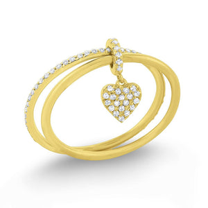 r7513 kc design diamond lucky charm heart ring set in 14 kt. gold