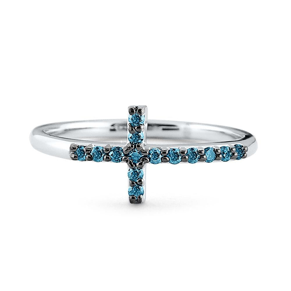 r7912 kc design 14k gold and blue diamond side cross ring