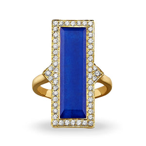 doves royal lapis collection 18k yellow gold diamond ring R8305LP