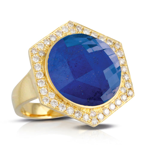 doves royal lapis collection 18k yellow gold diamond ring R8509LP