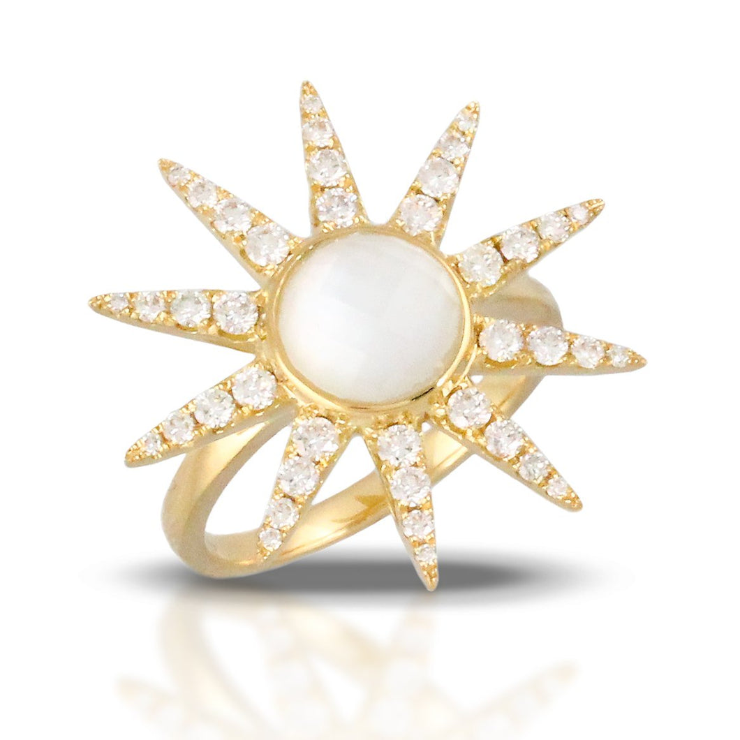 doves white orchid collection 18k yellow gold diamond ring R8546WMP
