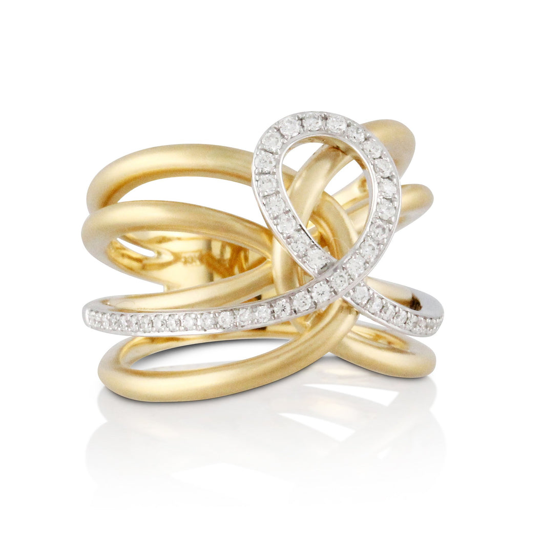 doves diamond fashion collection 18k white and yellow gold diamond ring R8581