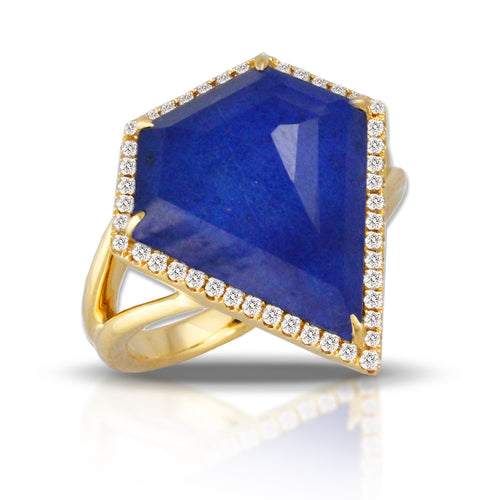 doves royal lapis collection 18k yellow gold diamond ring R8601LP