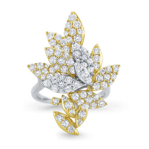 r8629 kc design 14k gold and diamond leaf ring