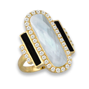 doves white orchid collection 18k yellow gold diamond ring R8746BOMP