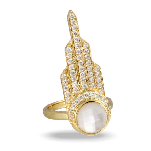doves white orchid collection 18k yellow gold diamond ring R8988WMP