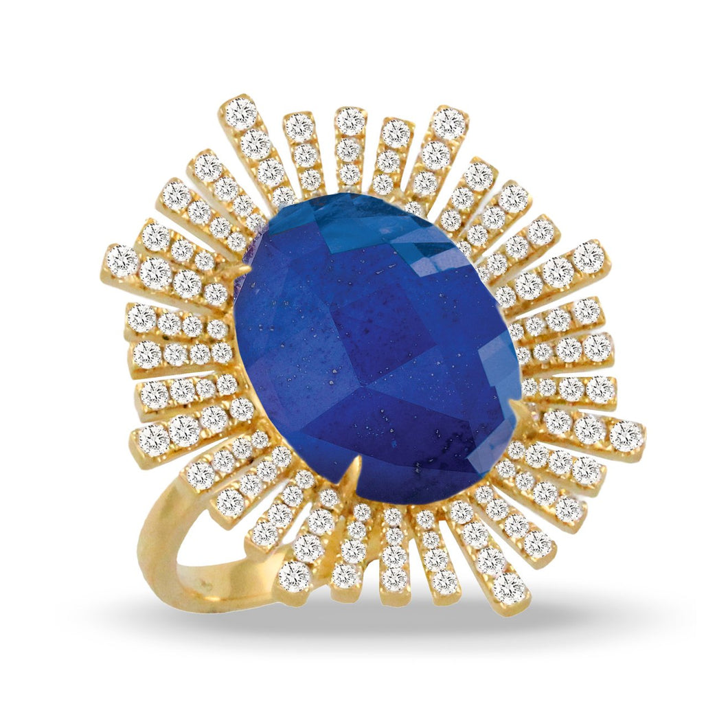 doves royal lapis collection 18k yellow gold diamond ring R8996LP