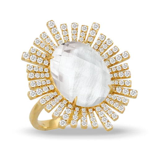 doves white orchid collection 18k yellow gold diamond ring R8996WMP