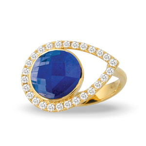 doves royal lapis collection 18k yellow gold diamond ring R9015LP