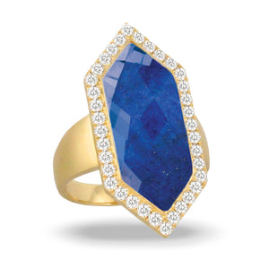 doves royal lapis collection 18k yellow gold diamond ring R9031LP