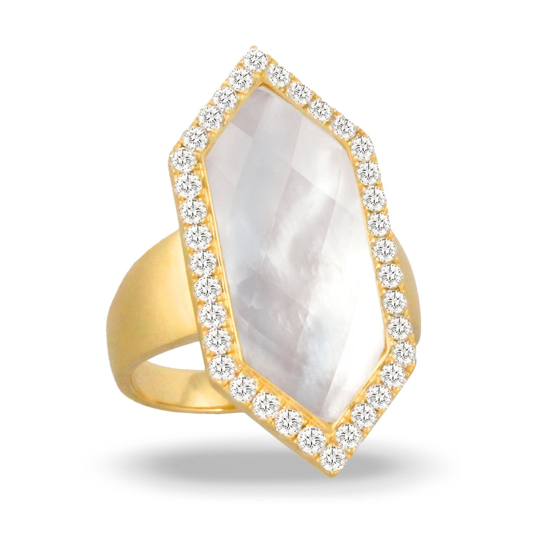 doves white orchid collection 18k yellow gold diamond ring R9031WMP