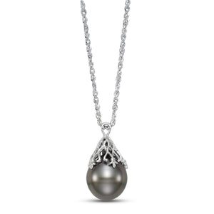 vintage-inspired tahitian pearl pendant necklace