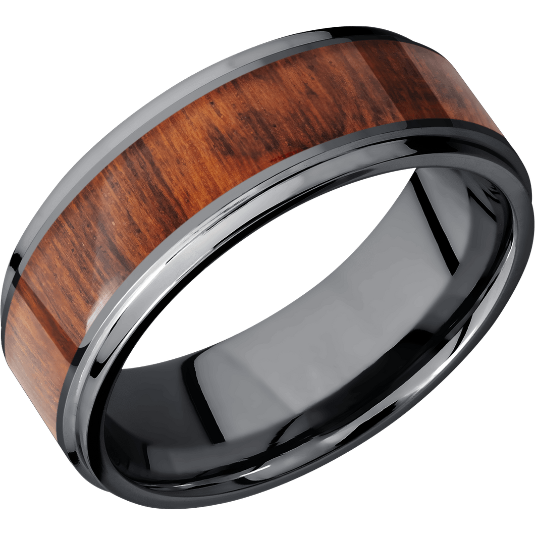 Hardwood Wedding Band With Satin & Polish Finish